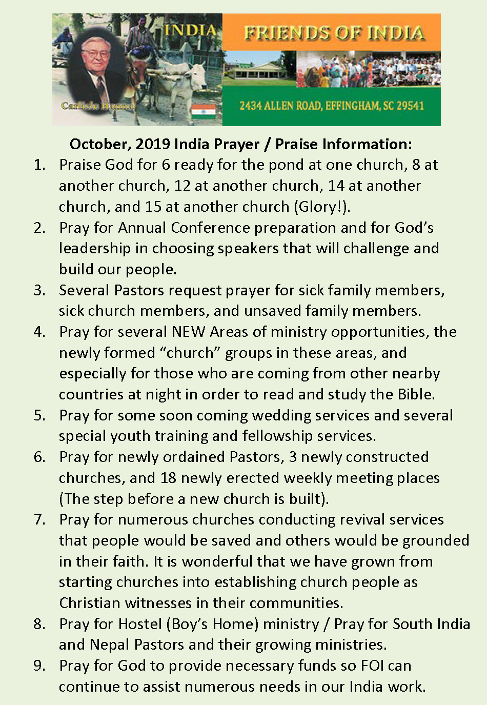 19October Prayer